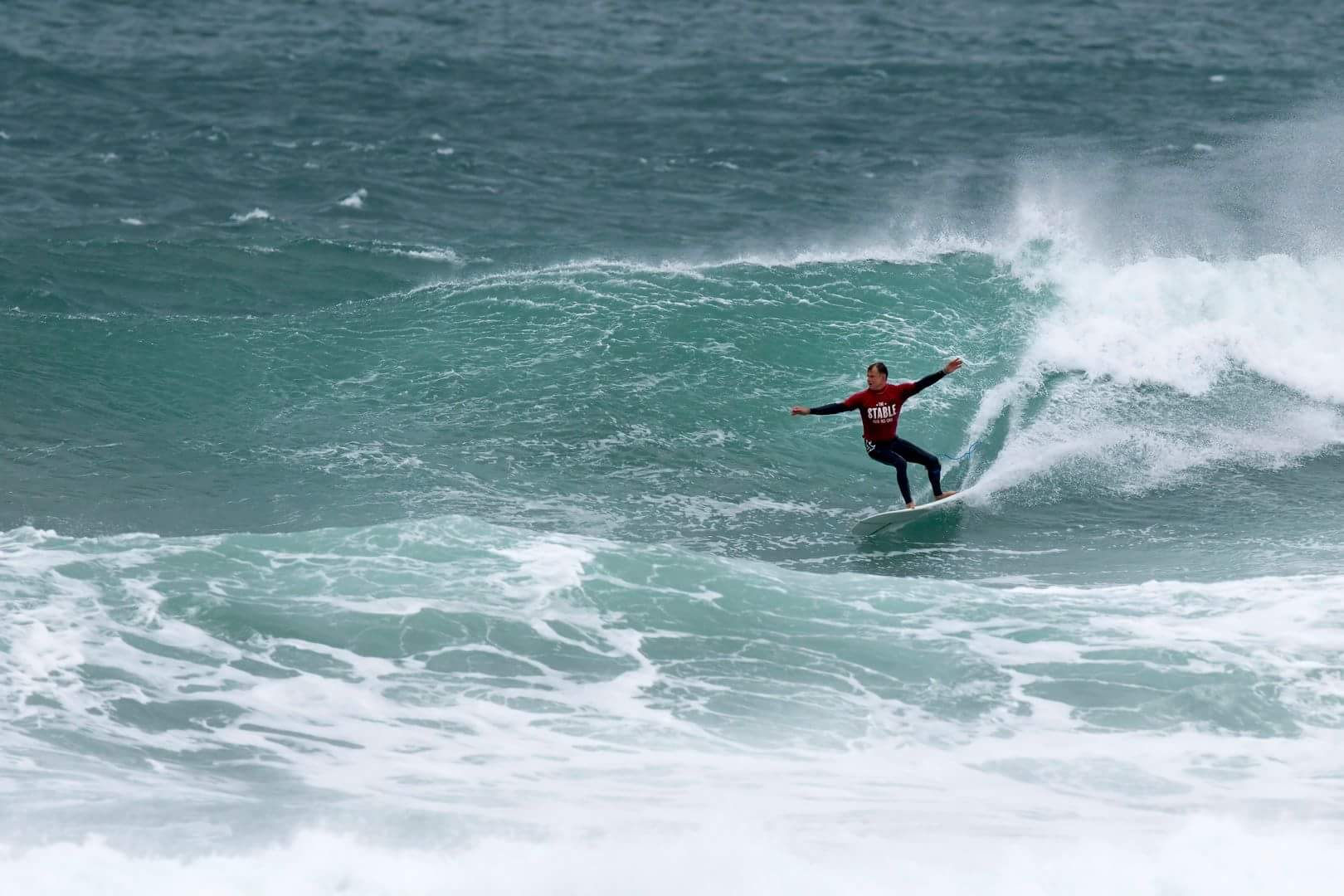 Adam Chell competing at The British Longboard Union, The Stable Fistral Classic #2