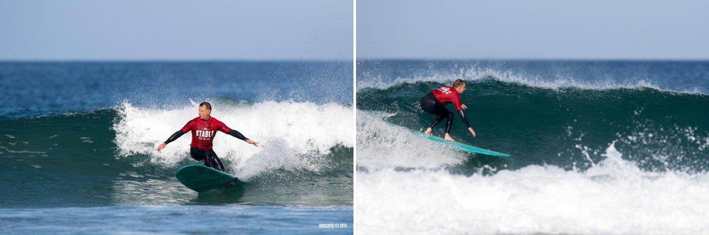 Adam Chell competing at The British Longboard Union, The Stable Fistral Classic
