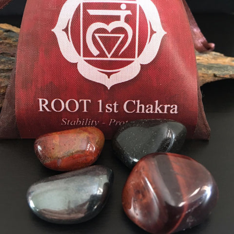 CHAKRA KIT Crystal Balancing Set - 1st BASE ROOT - Crystal Rock Emporium