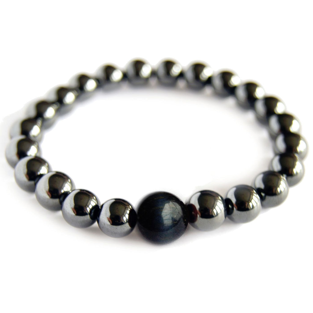 Magnetic Hematite Zodiac Bracelet - Capricorn - BLUE TIGER EYE - Crystal Rock Emporium
