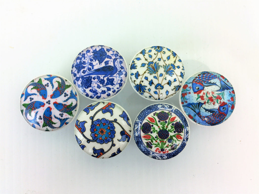 Set of 6 Blue and White Floral and Fish Print Cabinet Knobs