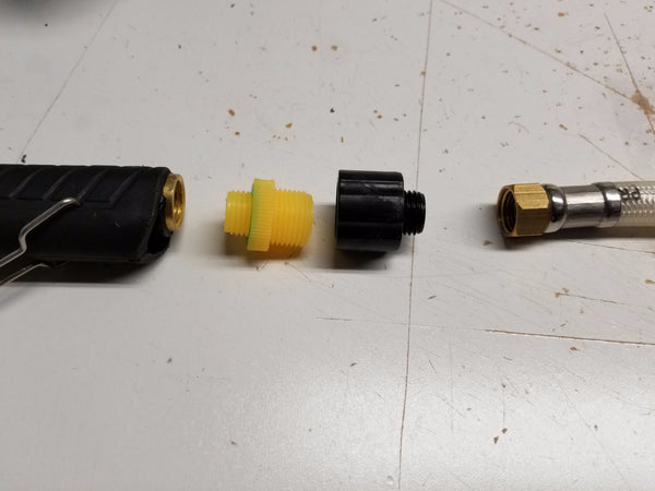 YELLOW MALE-MALE ADAPTER FOR PISTOL HANDLE AND ACID WAND (2 FOR $.99)