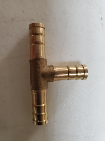 New brass T connector. 0.28-0.32 hose id