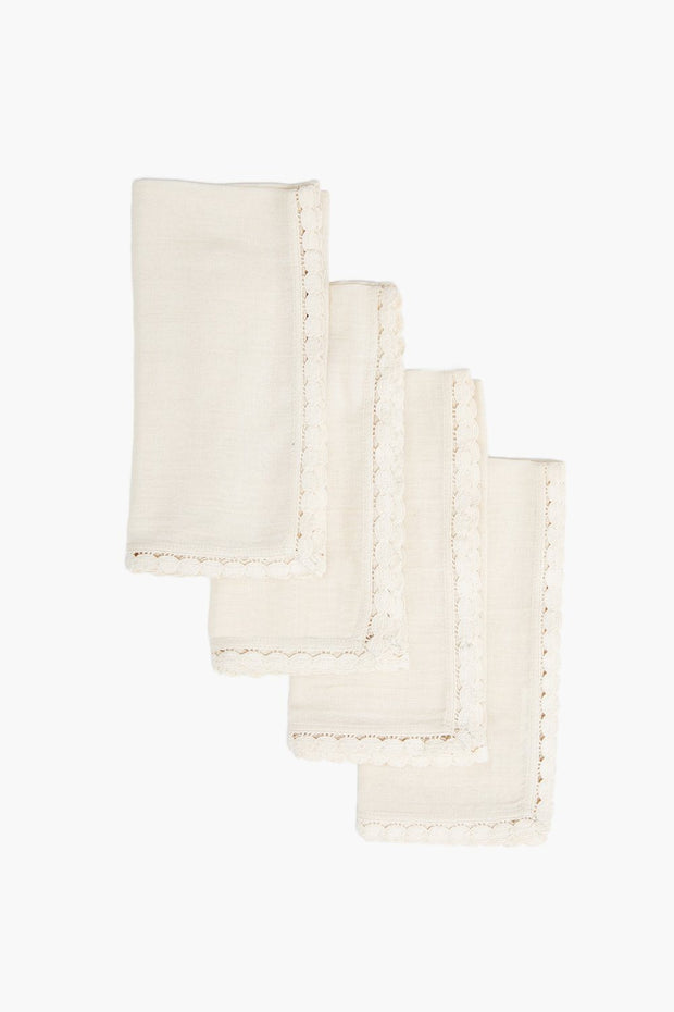 Cotton Napkin with Crochet Trim Set of 4