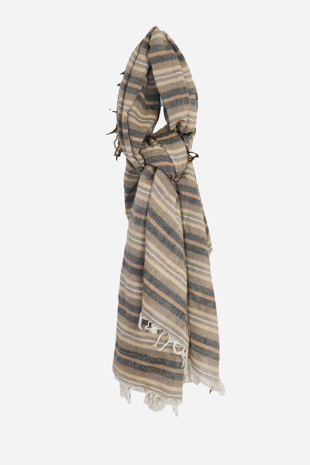 Wool 6 Colored Stripe Scarf Total Eclipse