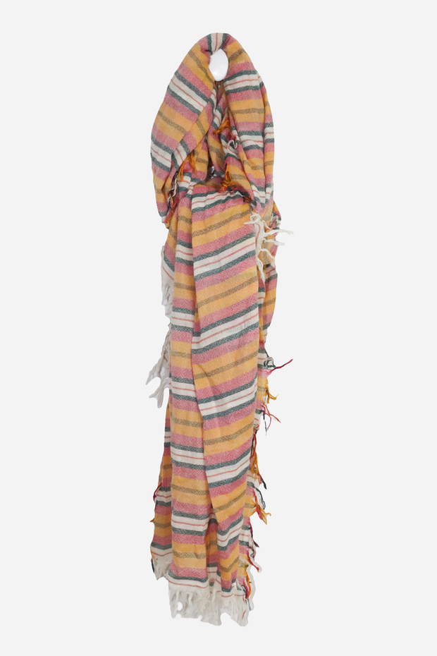 Wool 6 Colored Stripe Scarf Meadow