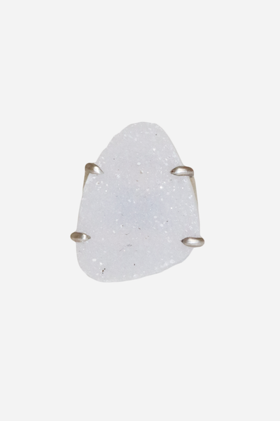 SS Ring with Natural White Agate