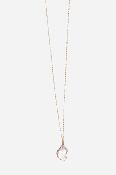 18k Gp SS Necklace with Freshwater Pearls