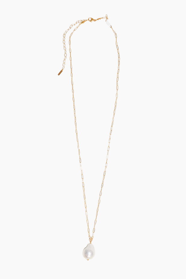 18k Gp SS Necklace with Freshwater Pearl