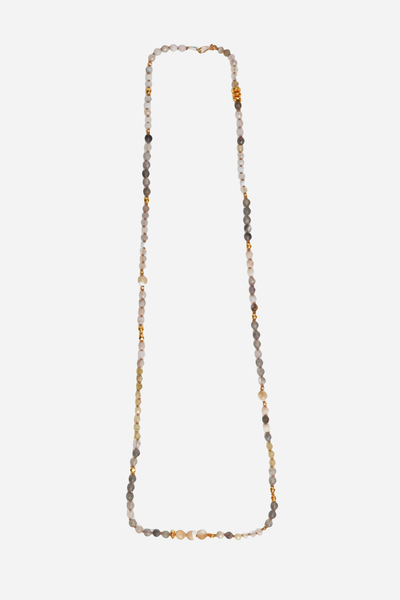 "18k Gold Plated ss 38"" Necklace with Semi Precious Stones"