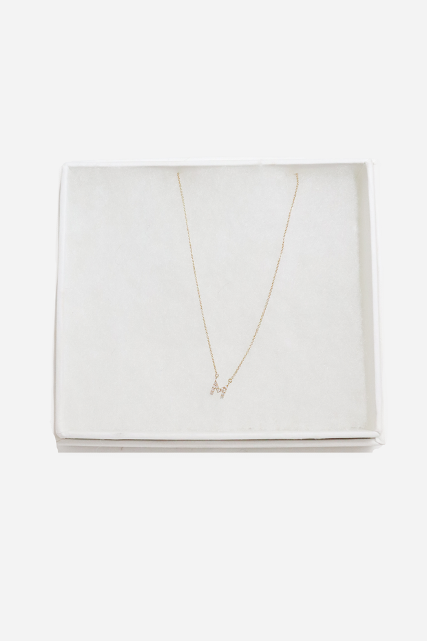 14k Gold Initial Necklace with Diamonds