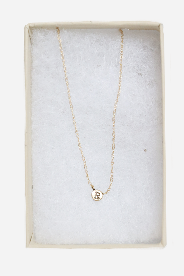 14K Tiny R Necklace