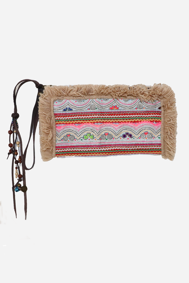 Clutch with Beaded Strap Natural