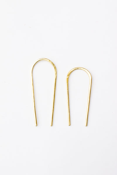 Curvy Oval Brass Hair Forks