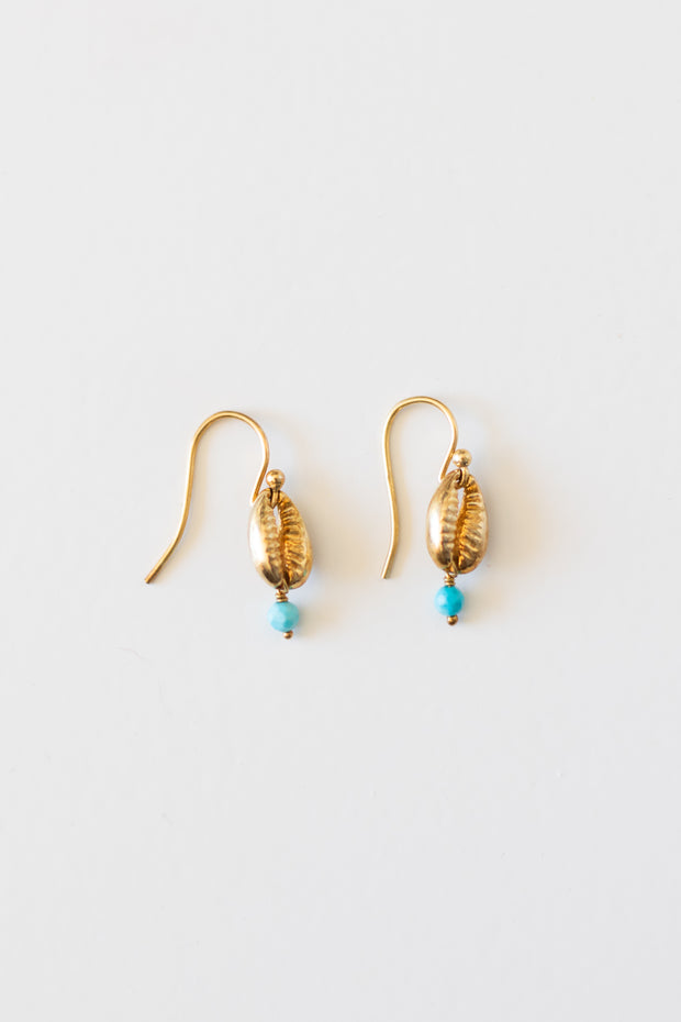 Turquoise Gold Cowry Shell Earrings