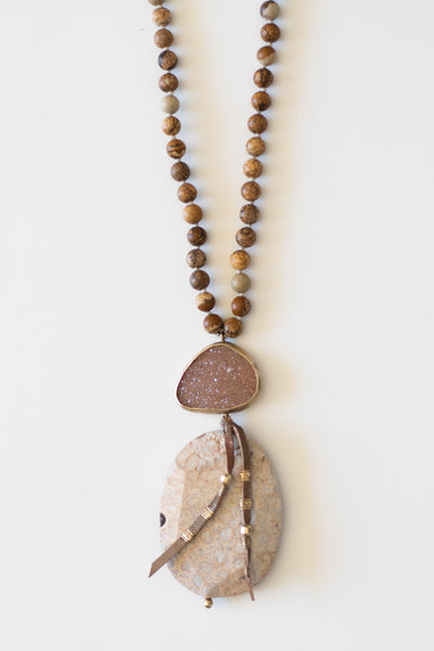Brown Stone Necklace with Druzy