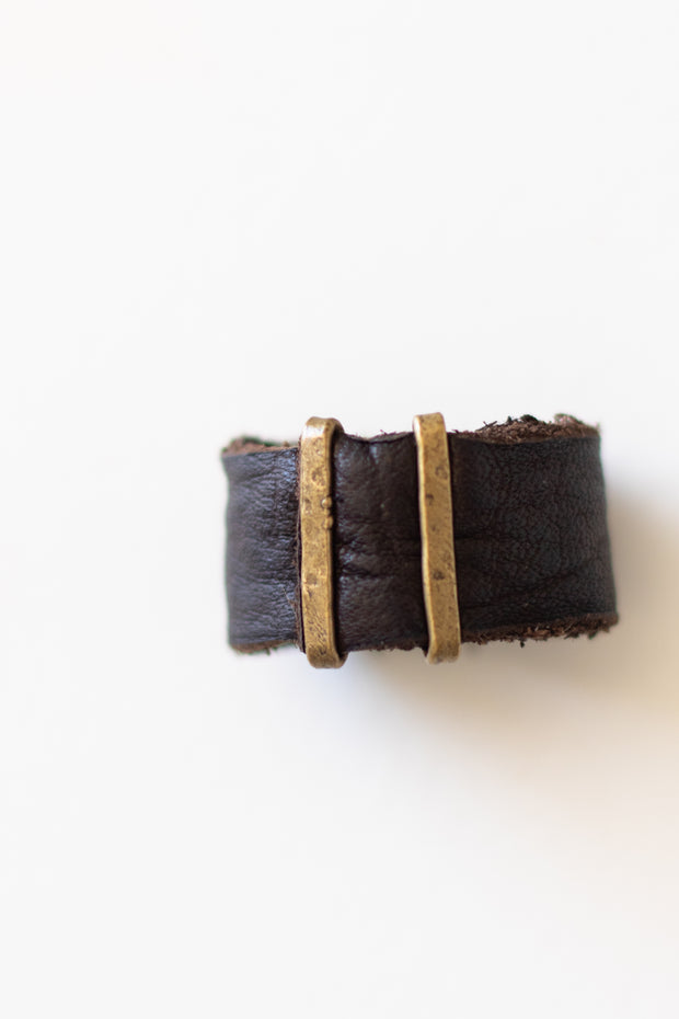 Dark Brown Leather Ring w/ 2 Gold Bars