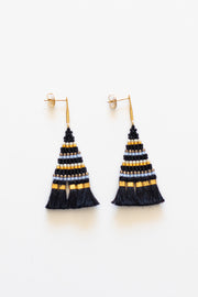 Black Beaded Fringe Earring