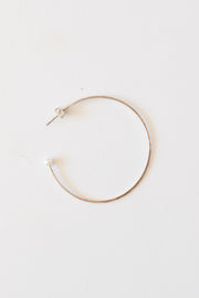 White Pearl Hammered Hoop Earrings