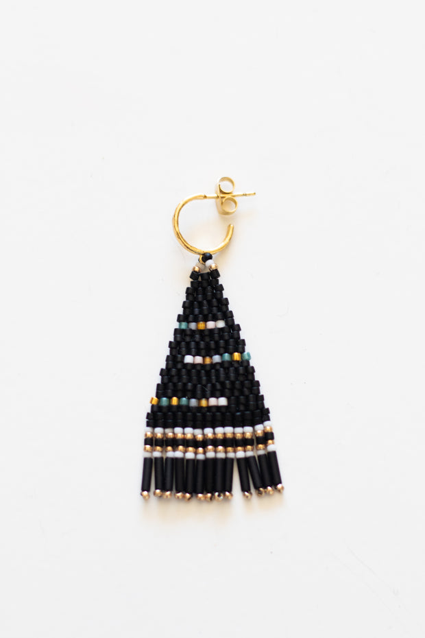 Black Beaded Stud Earring
