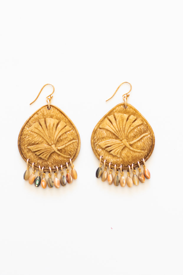 Hand Carved Wood Earrings