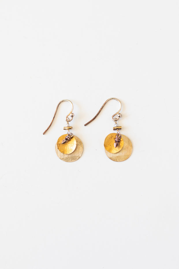 Sterling Silver & Gold Circle Earring