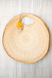 Large Round Woven Palm Clutch Bag