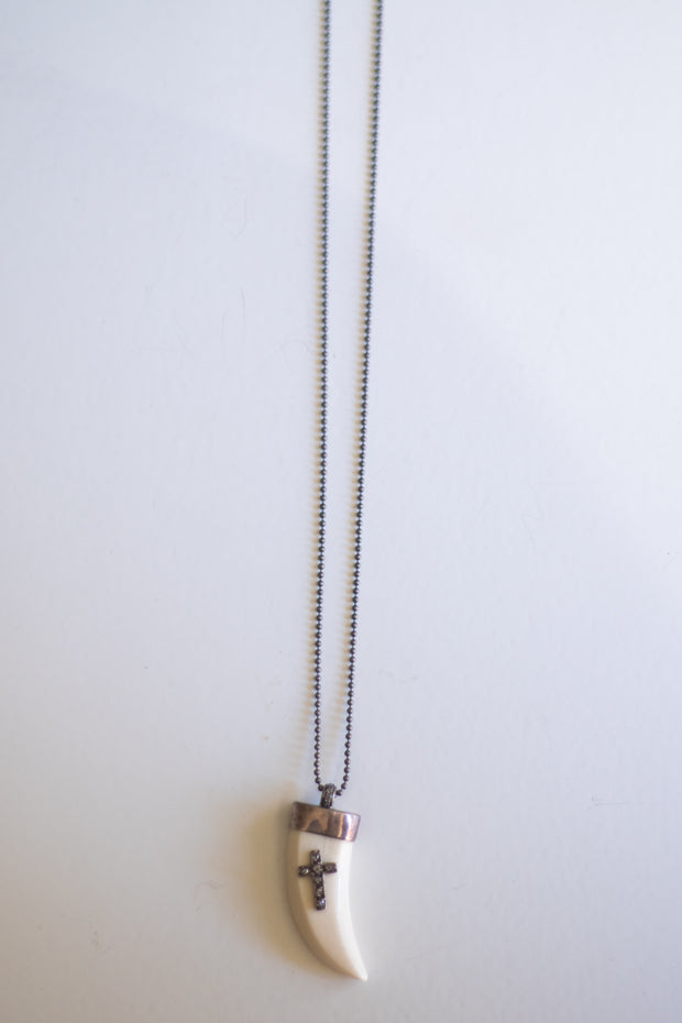 Tooth Pendant with Cross Necklace