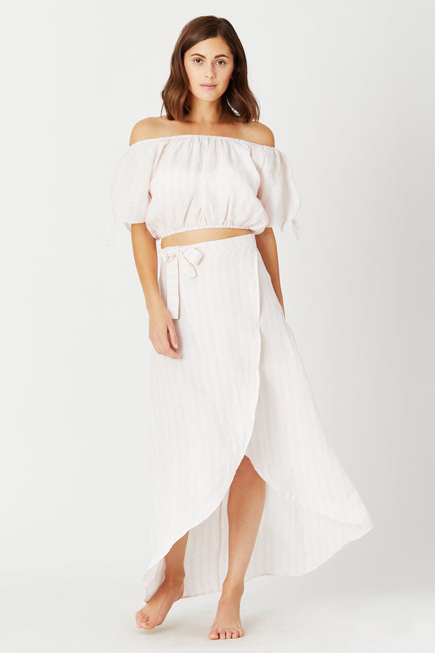 Amanda Macro Stripe Wrap Skirt