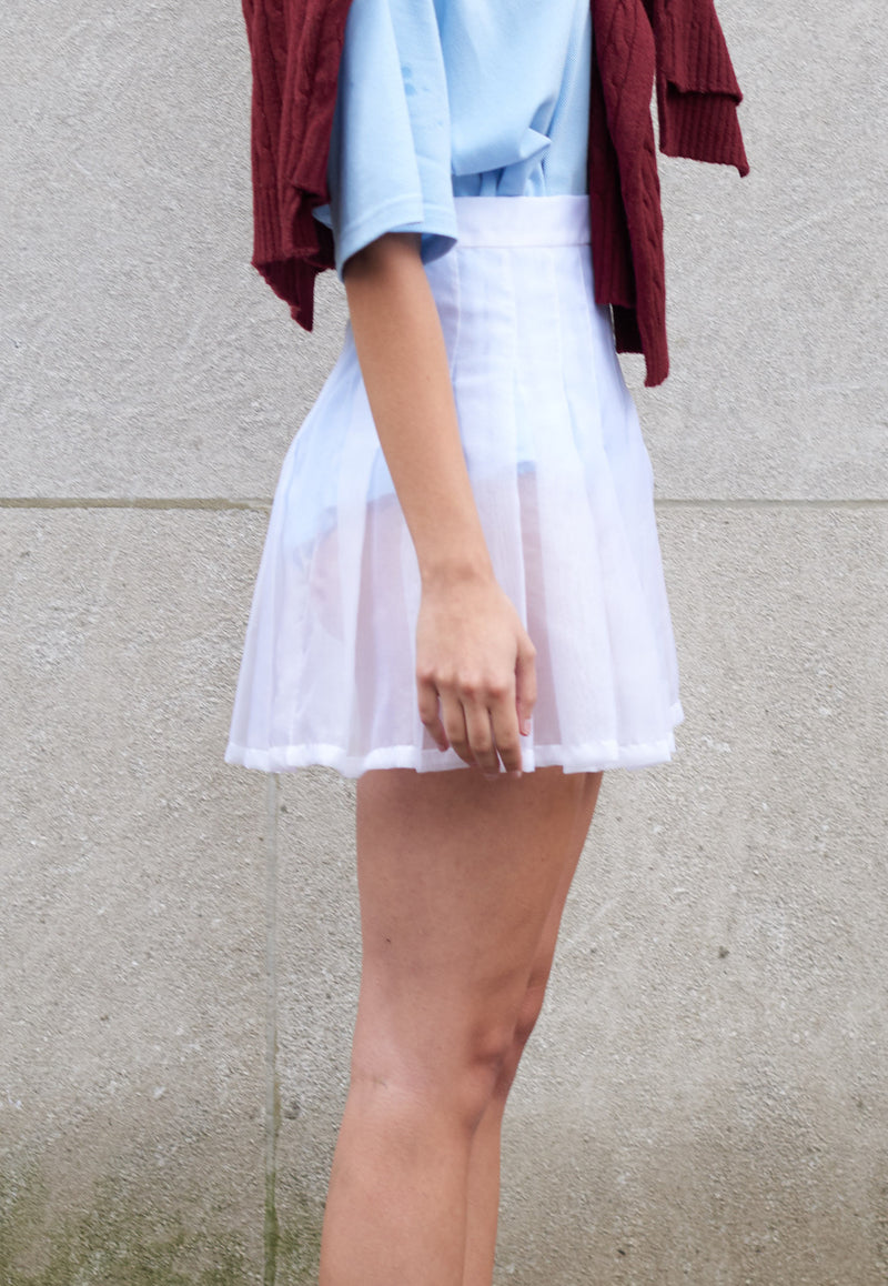 Silk Chiffon White Skirt