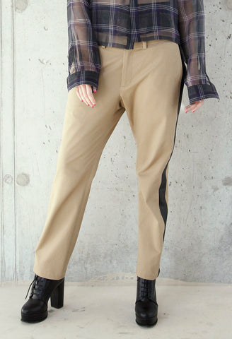 Khaki and Leather Tux Trouser