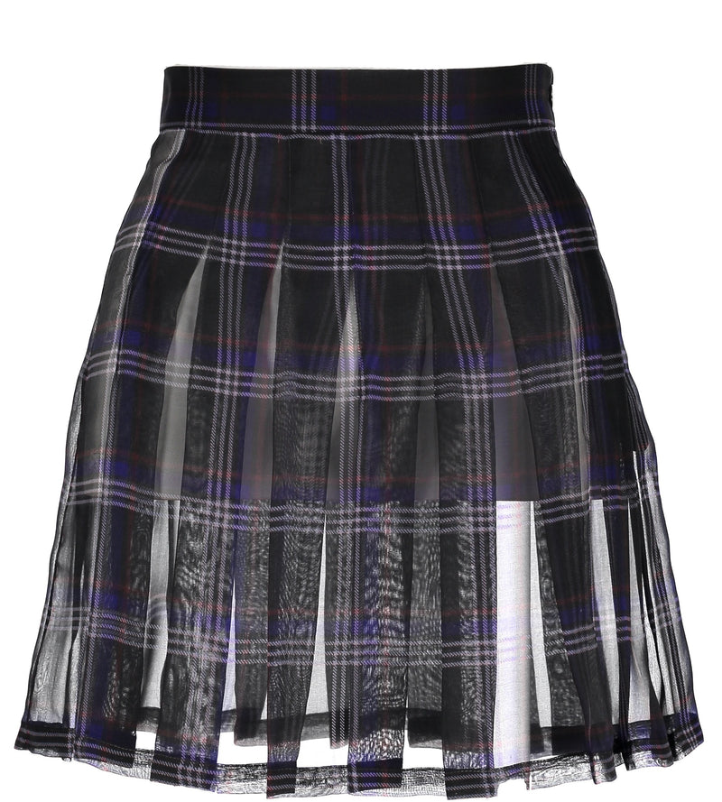 Sheer Tartan Pleated Skirt