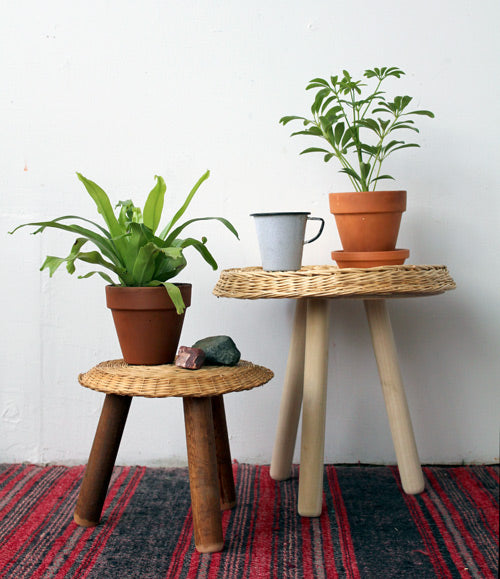 Adorable Indoor Plant Stools Wicker Basket Project Ideas