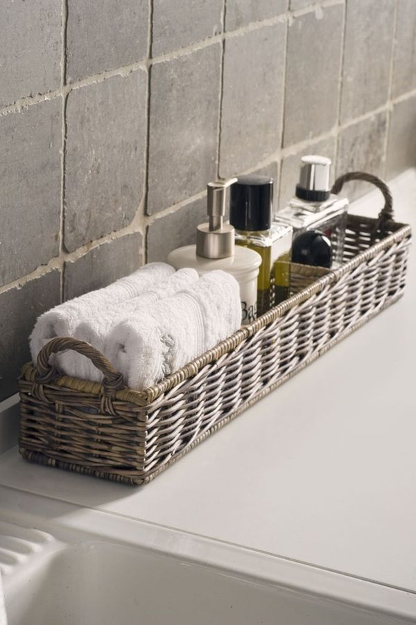 An elegant bathing experience Bathroom Storage In-Style with Willow Baskets