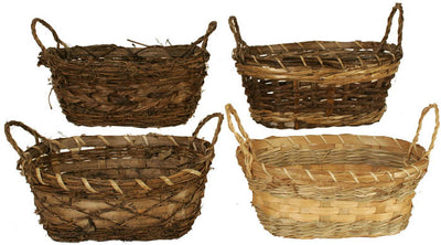 "Rustic Double 6"" Planter Basket Assortment-Wald Imports"