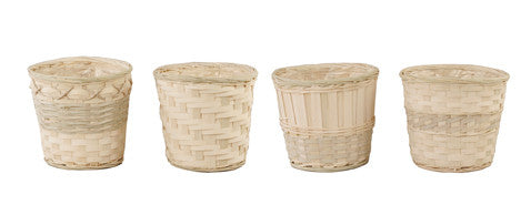 "7"" Whitewash Bamboo Pot Cover Basket-Wald Imports"