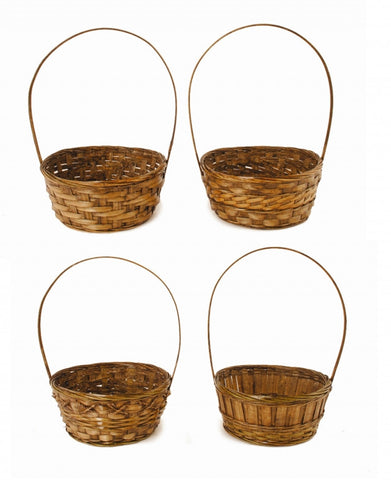 "10"" Dark Stained Bamboo Basket With Handle"