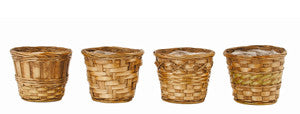 "5"" Dark Stained Bamboo Basket Planter-Wald Imports"
