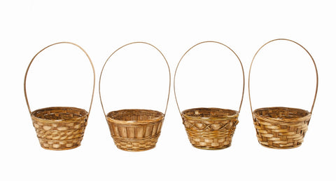 "6"" Dark Stained Bamboo Basket"