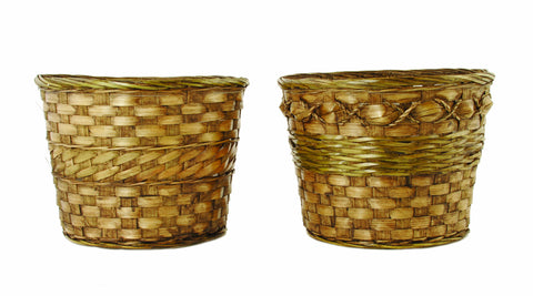 "9"" Dark Stained Bamboo Basket Pot Cover"