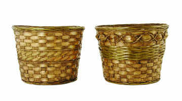 "9"" Dark Stained Bamboo Basket Planter-Wald Imports"