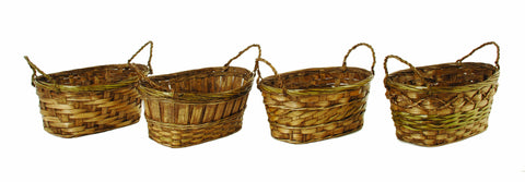 "Double 4"" Dark Stained Bamboo Planter Basket-Wald Imports"