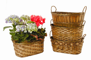 "Double 6"" Dark Stained Bamboo Planter Basket-Wald Imports"