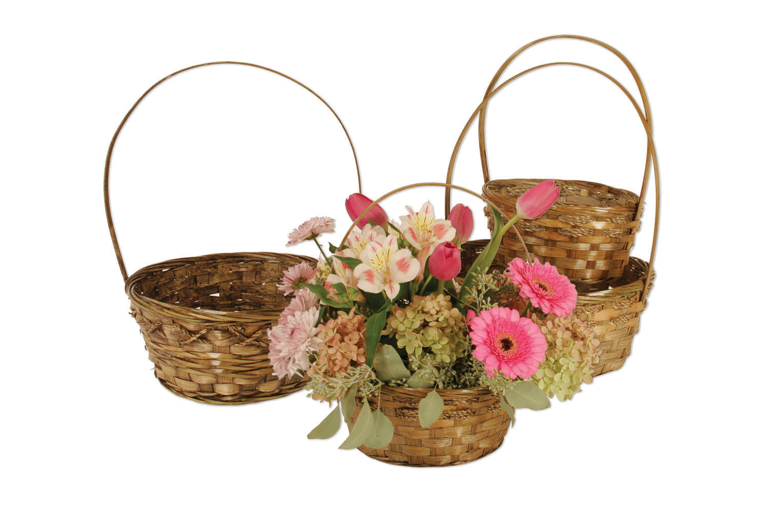 Set of 4 Dark Stained Bamboo Baskets-Wald Imports