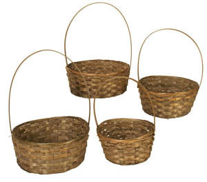 Set of 4 Dark Stained Bamboo Baskets