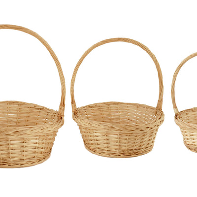 Set of 3 Bleached Willow Baskets-Wald Imports