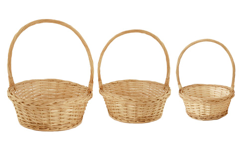 Set of 3 Willow Baskets-Wald Imports