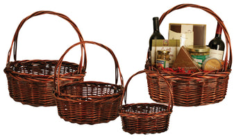 Set of 4 Dark Willow Baskets-Wald Imports