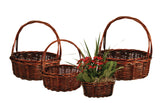 Set of 4 Dark Brown Willow Baskets-Wald Imports