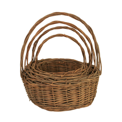 Set of 4 UNPEELED Willow Baskets-Wald Imports